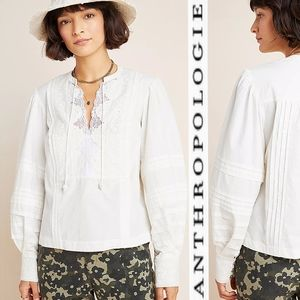 ANTHROPLOGIE Delilah Pleated Lace Peasant Blouse